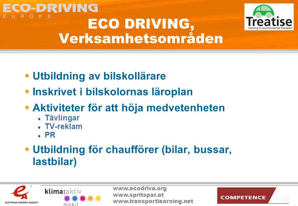 ECO DRIVING, Verksamhetsområden