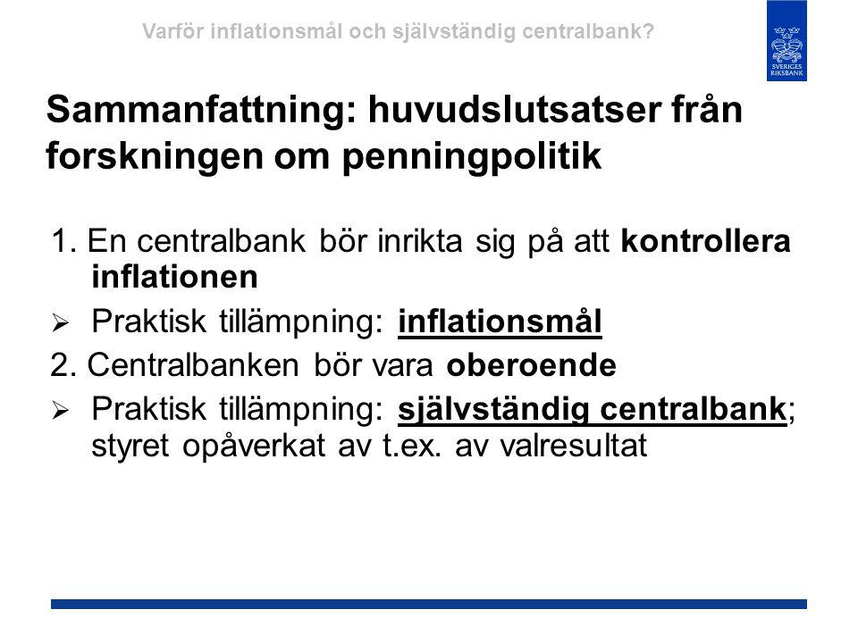 Sammanfattning: huvudslutsatser från forskningen om penningpolitik