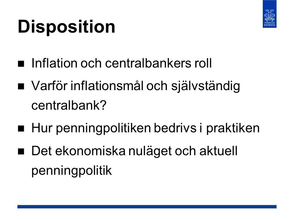Disposition Inflation och centralbankers roll