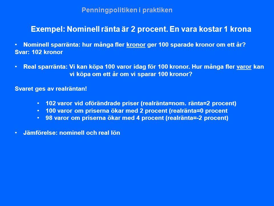 Exempel: Nominell ränta är 2 procent. En vara kostar 1 krona