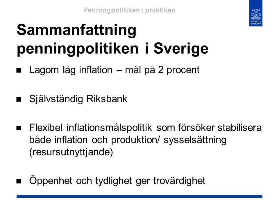 Sammanfattning penningpolitiken i Sverige