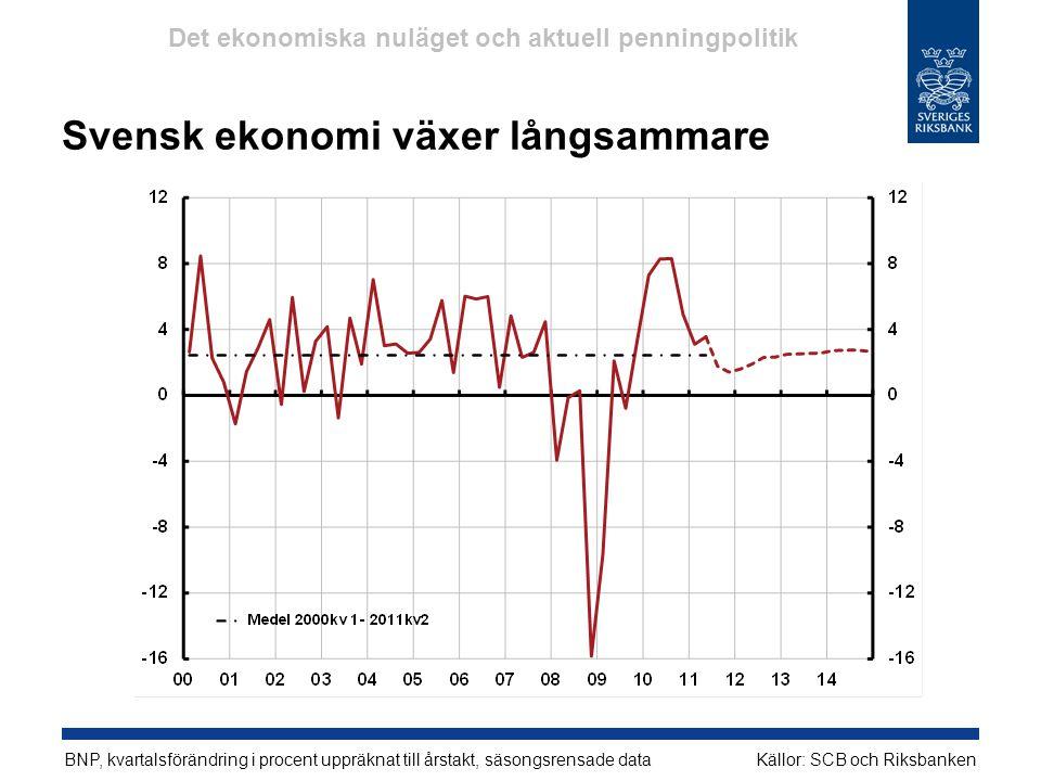 Svensk ekonomi växer långsammare
