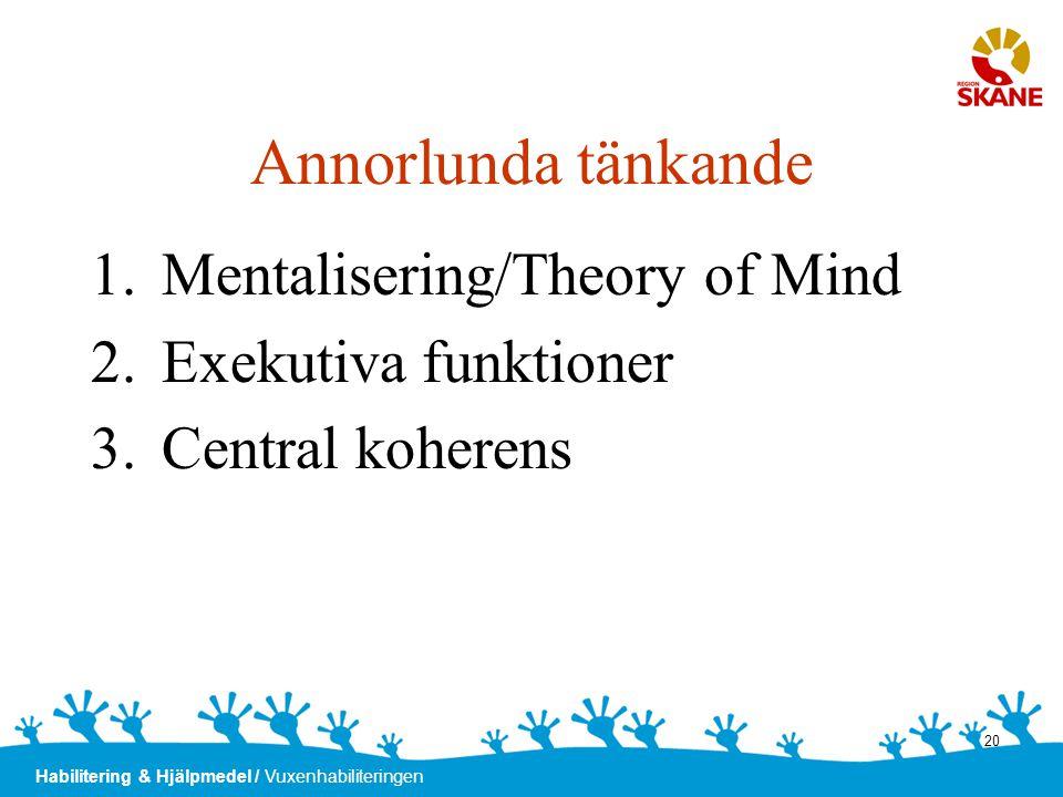 Annorlunda tänkande Mentalisering/Theory of Mind Exekutiva funktioner