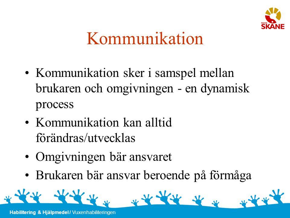 Kommunikation Kommunikation sker i samspel mellan brukaren och omgivningen - en dynamisk process. Kommunikation kan alltid förändras/utvecklas.