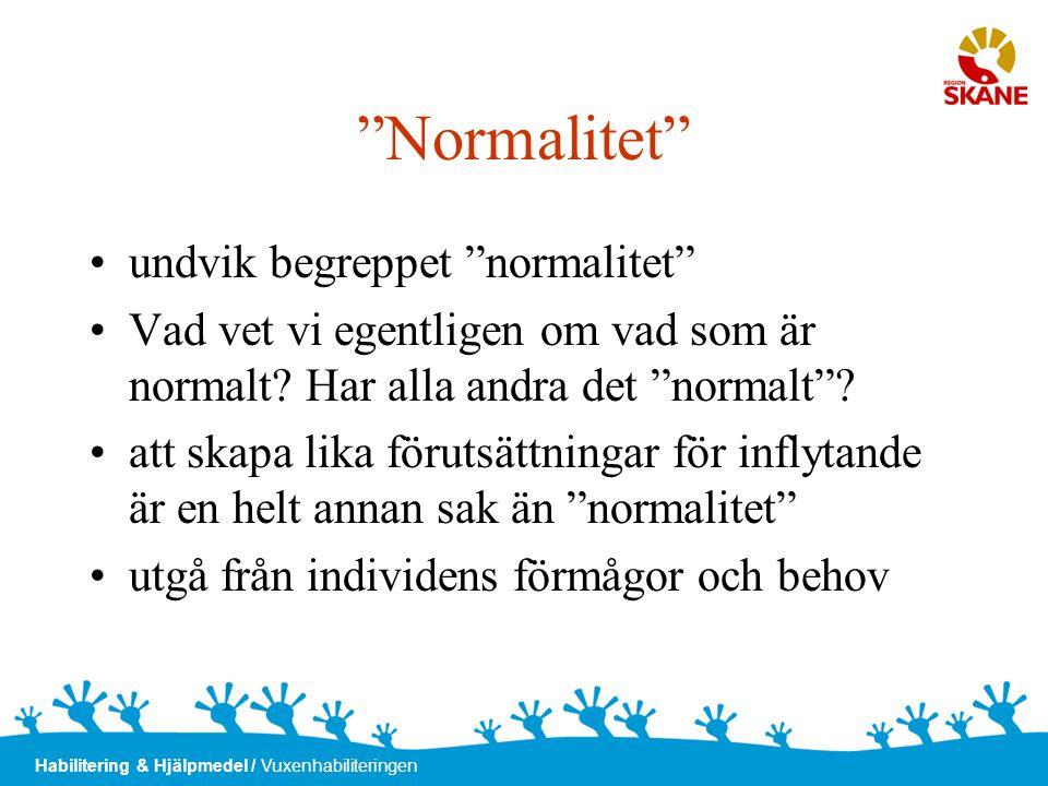 Normalitet undvik begreppet normalitet