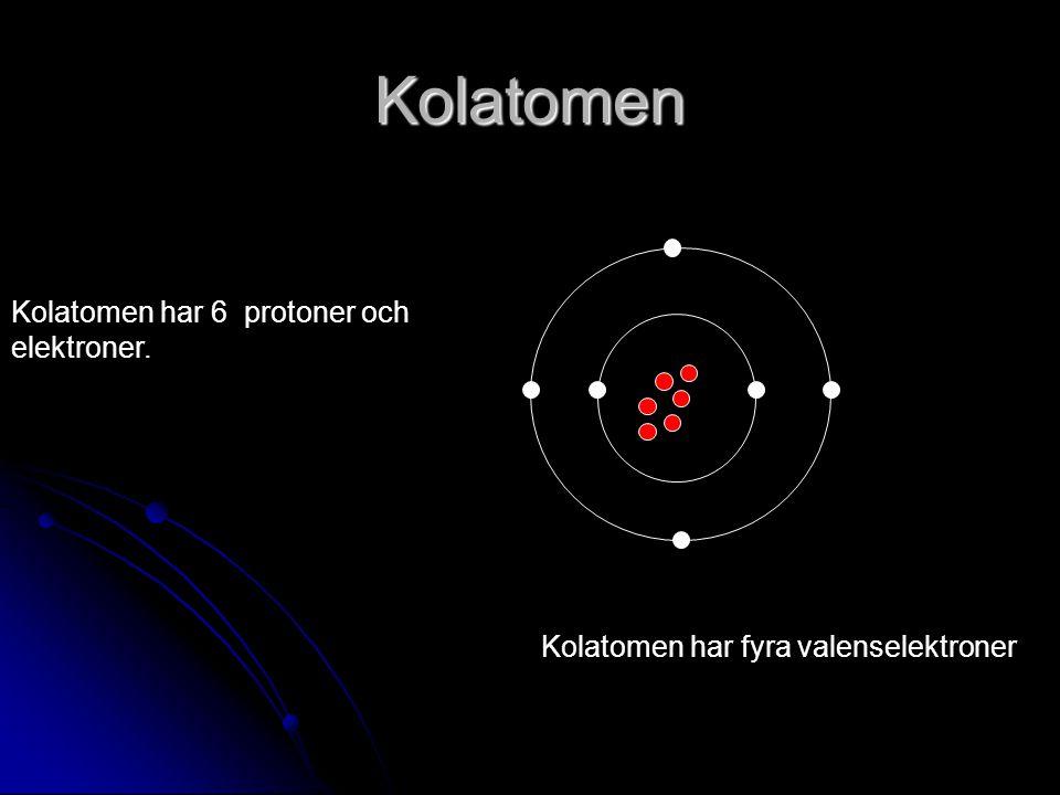 Kolatomen Kolatomen har 6 protoner och elektroner.