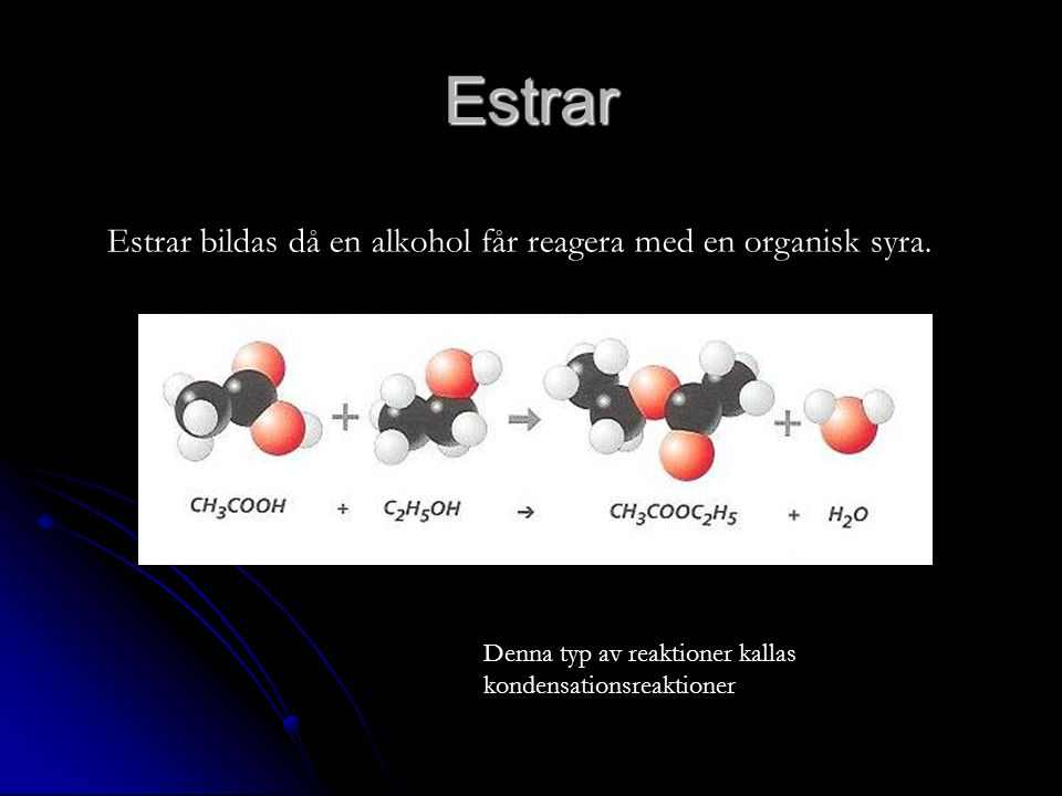 Estrar Estrar bildas då en alkohol får reagera med en organisk syra.