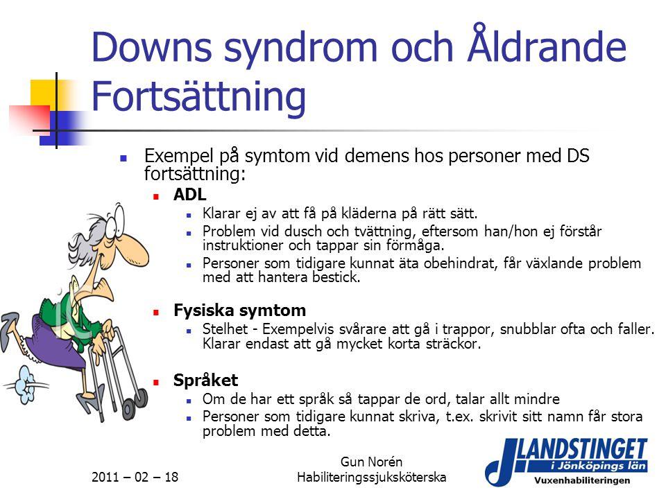 Downs syndrom och Åldrande Fortsättning