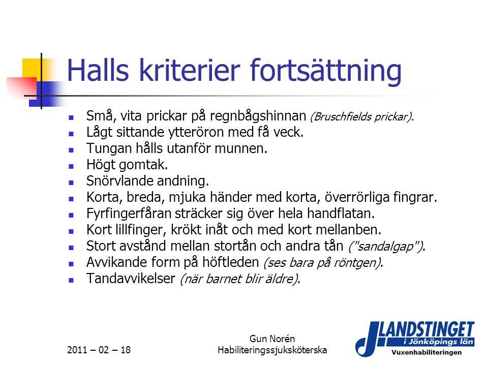 Halls kriterier fortsättning