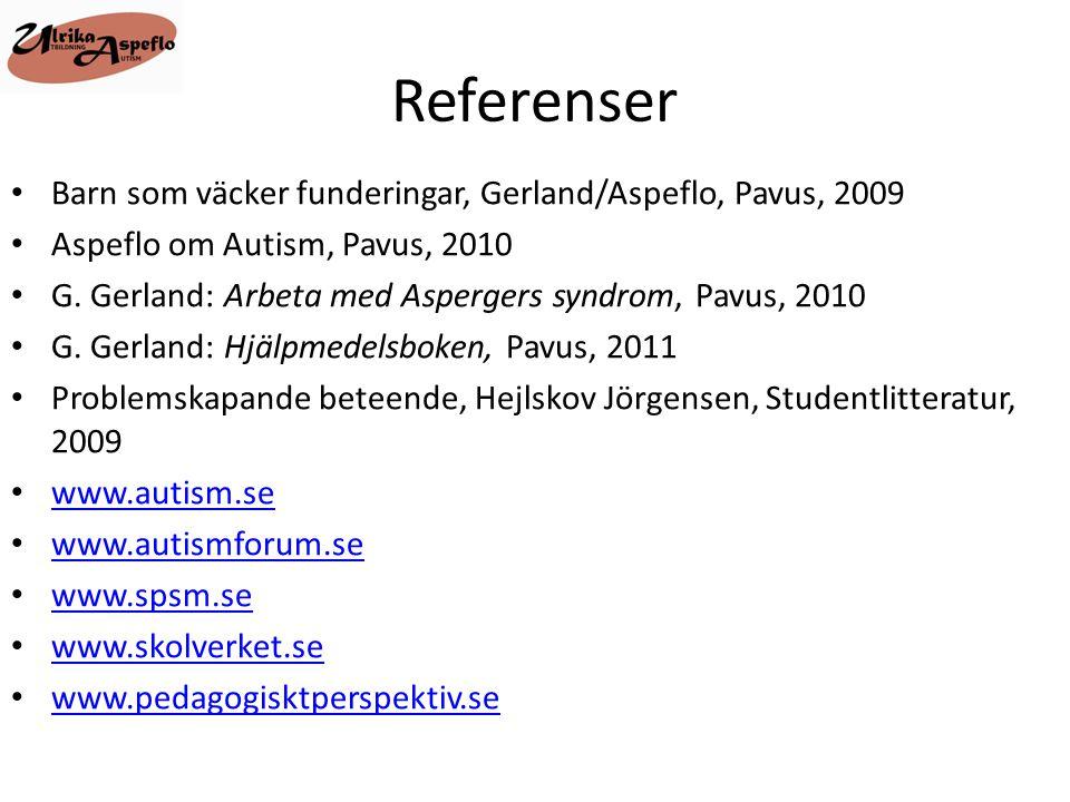 Referenser Barn som väcker funderingar, Gerland/Aspeflo, Pavus, 2009