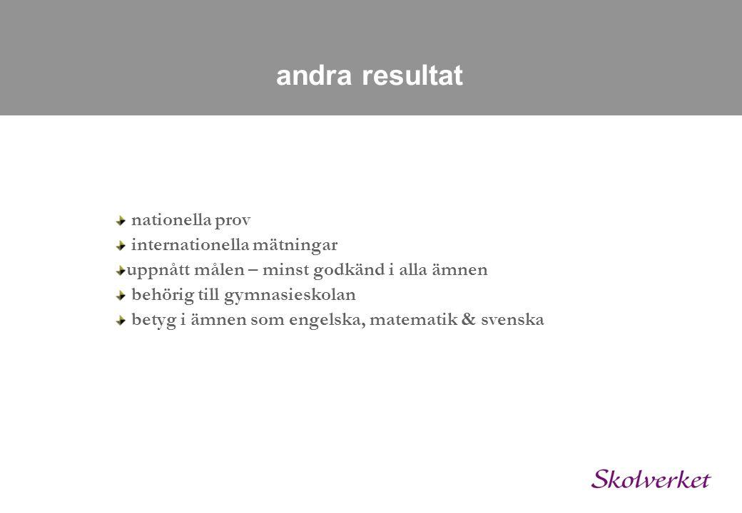 andra resultat nationella prov internationella mätningar