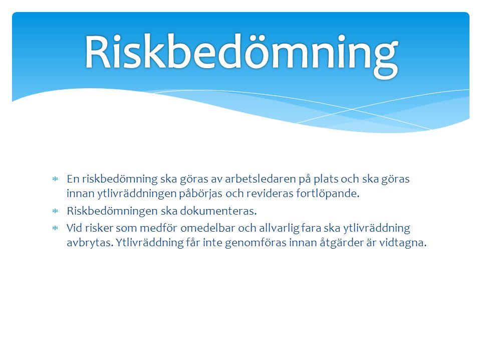 Riskbedömning En riskbedömning ska göras av arbetsledaren på plats och ska göras innan ytlivräddningen påbörjas och revideras fortlöpande.
