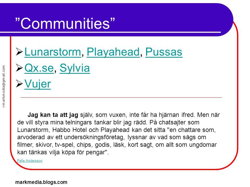 Communities Lunarstorm, Playahead, Pussas Qx.se, Sylvia Vujer