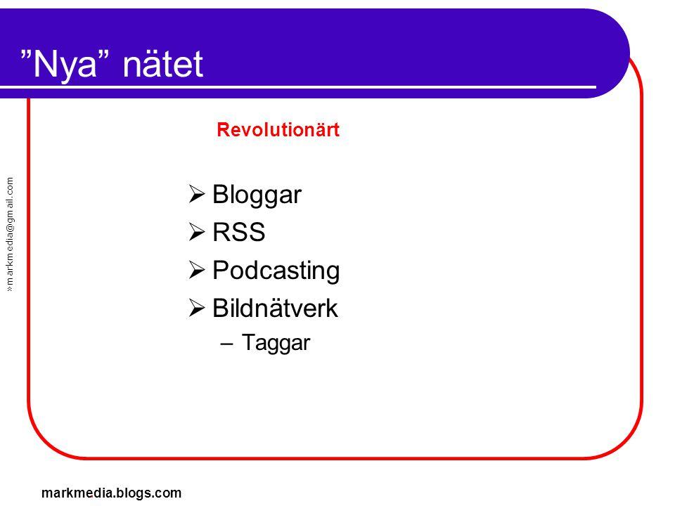 Nya nätet Bloggar RSS Podcasting Bildnätverk Taggar Revolutionärt