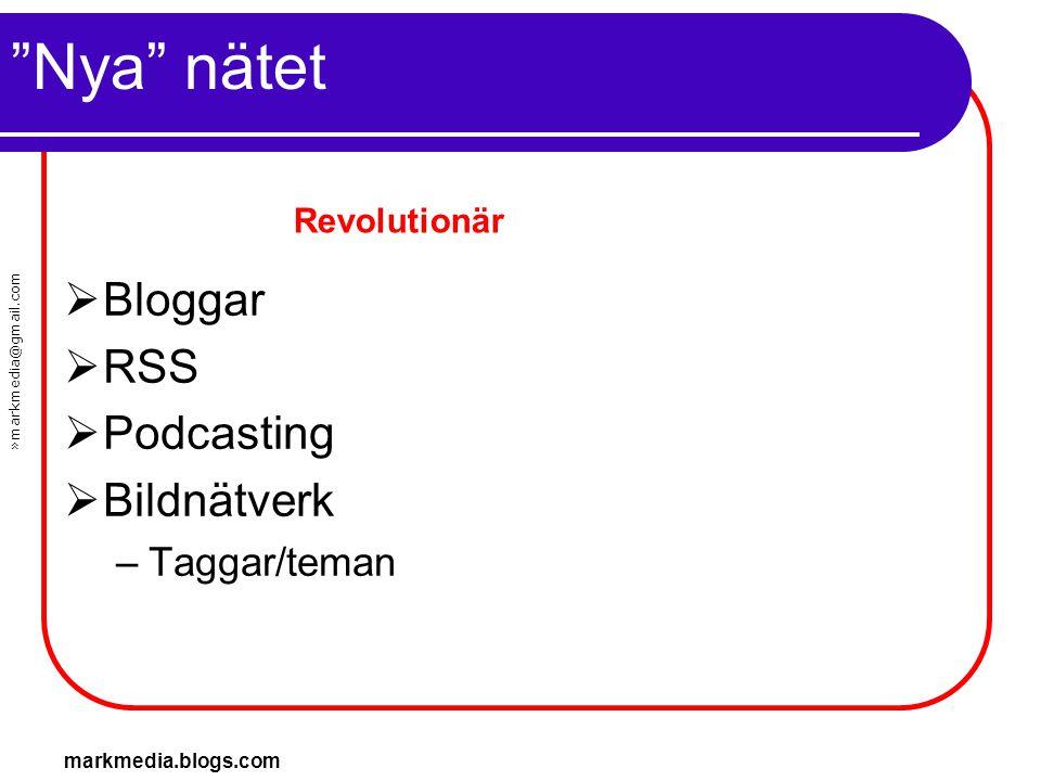 Nya nätet Bloggar RSS Podcasting Bildnätverk Taggar/teman