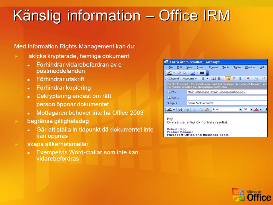 Känslig information – Office IRM