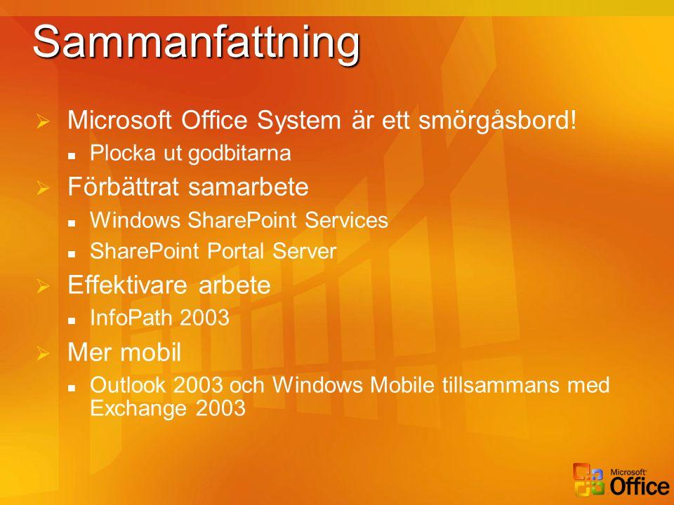 Sammanfattning Microsoft Office System är ett smörgåsbord!