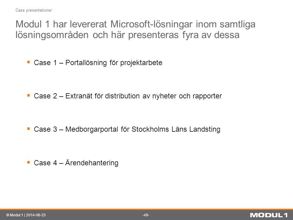 Case presentationer Modul 1 har levererat Microsoft-lösningar inom samtliga lösningsområden och här presenteras fyra av dessa.