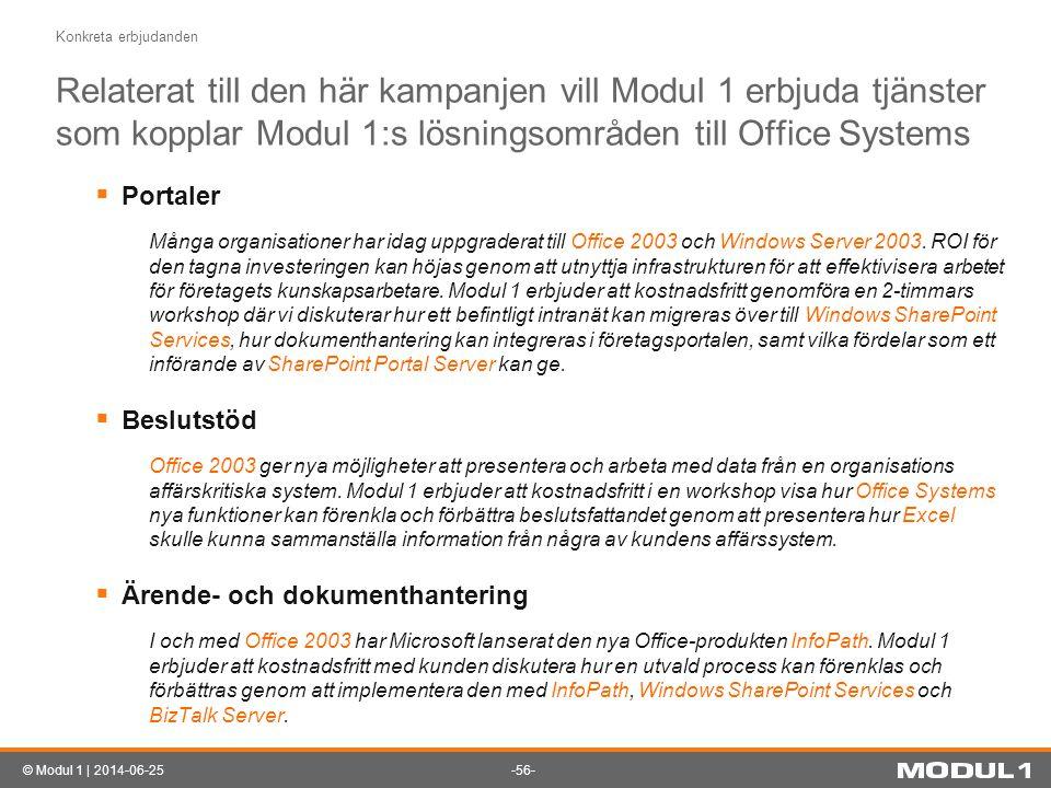 Konkreta erbjudanden Relaterat till den här kampanjen vill Modul 1 erbjuda tjänster som kopplar Modul 1:s lösningsområden till Office Systems.