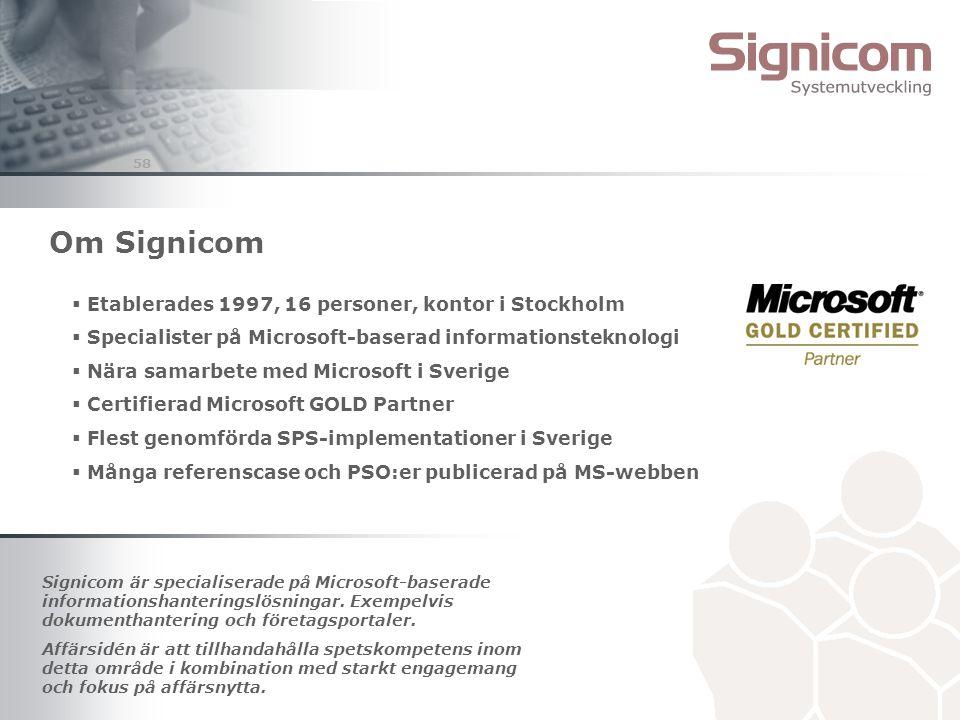 Om Signicom Etablerades 1997, 16 personer, kontor i Stockholm