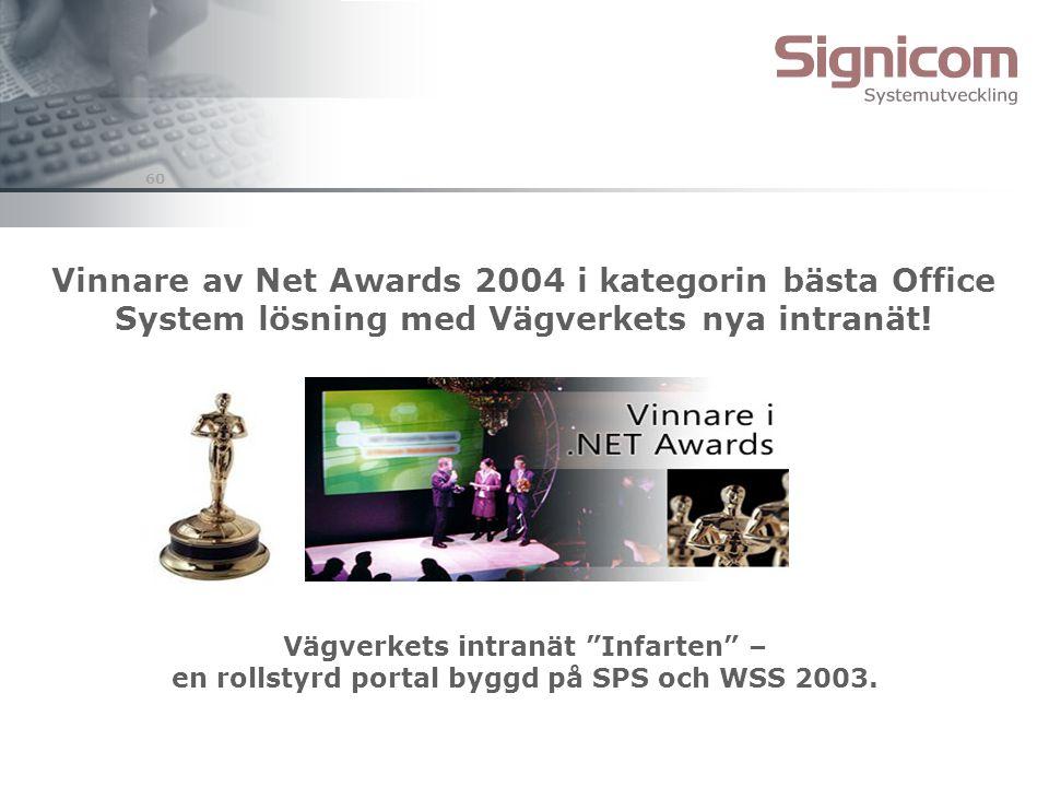 Vinnare av Net Awards 2004 i kategorin bästa Office System lösning med Vägverkets nya intranät!