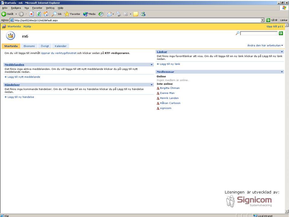 Samarbetsyta/projektwebbplats baserad på WSS