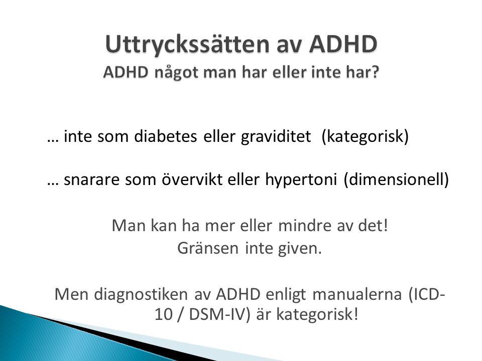 Uttryckssätten av ADHD ADHD något man har eller inte har
