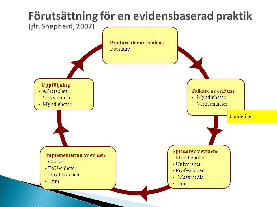 Förutsättning för en evidensbaserad praktik (jfr. Shepherd, 2007)