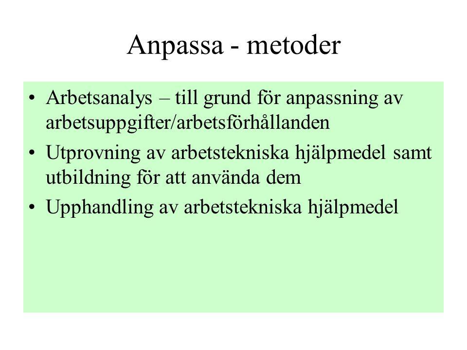 Anpassa - metoder Arbetsanalys – till grund för anpassning av arbetsuppgifter/arbetsförhållanden.
