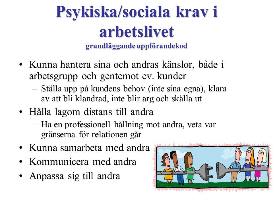 Psykiska/sociala krav i arbetslivet grundläggande uppförandekod
