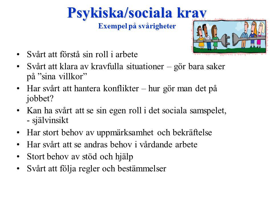 Psykiska/sociala krav Exempel på svårigheter