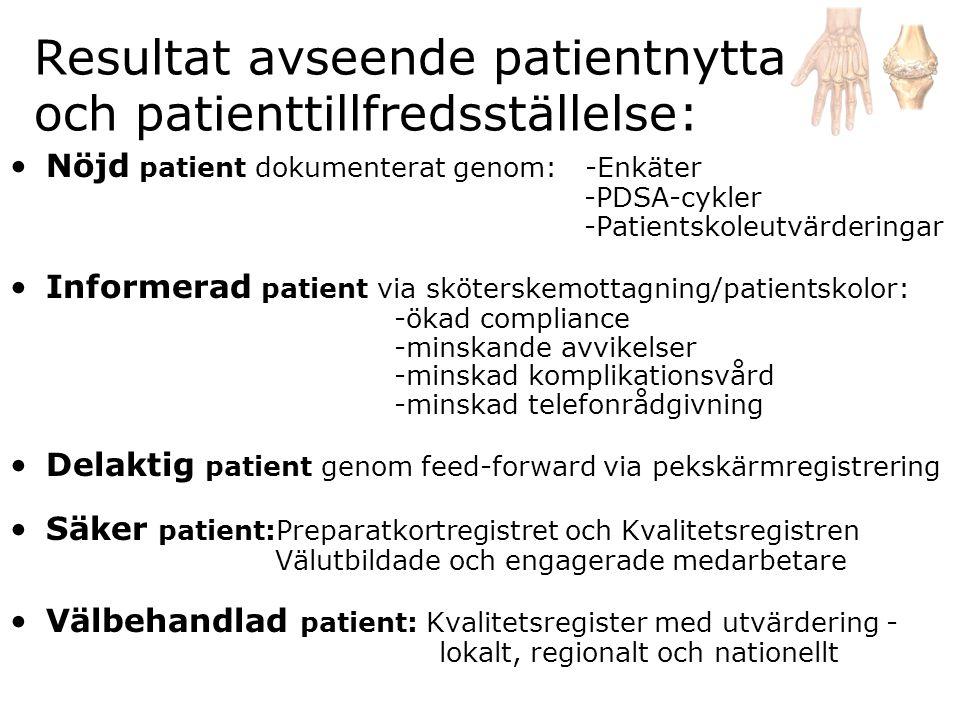 Resultat avseende patientnytta och patienttillfredsställelse:
