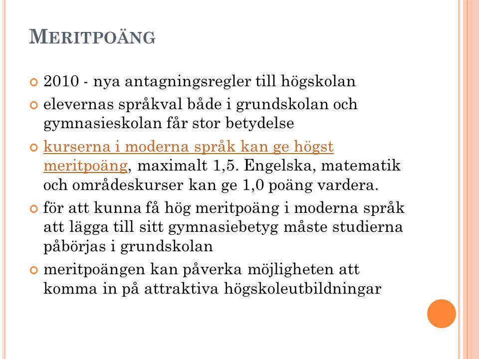 Meritpoäng 2010 - nya antagningsregler till högskolan
