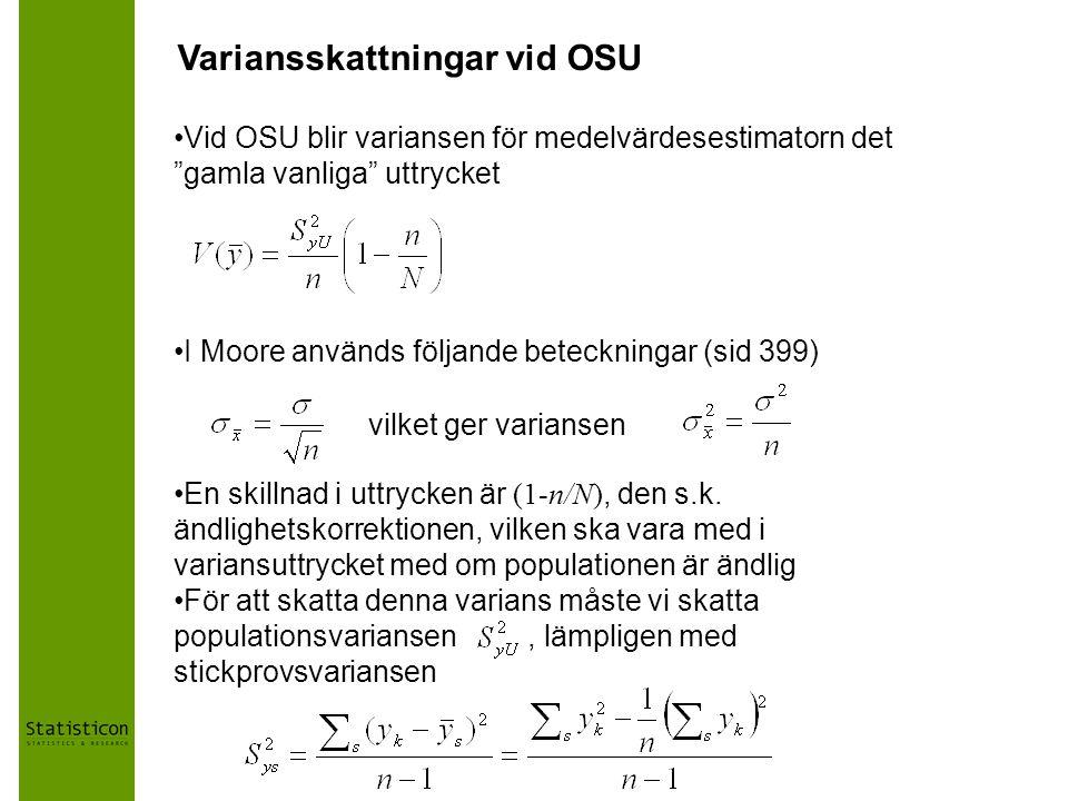Variansskattningar vid OSU