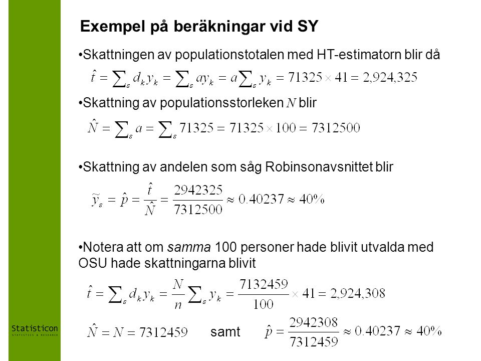 Exempel på beräkningar vid SY