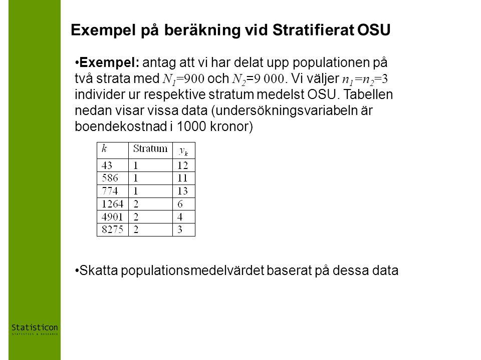 Exempel på beräkning vid Stratifierat OSU