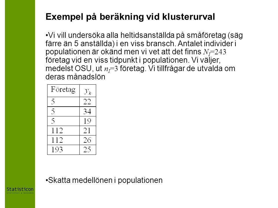 Exempel på beräkning vid klusterurval