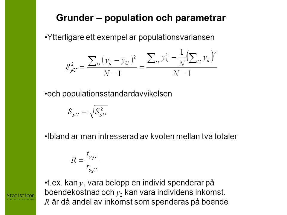 Grunder – population och parametrar