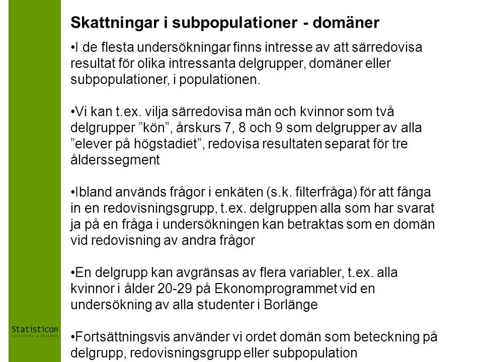 Skattningar i subpopulationer - domäner
