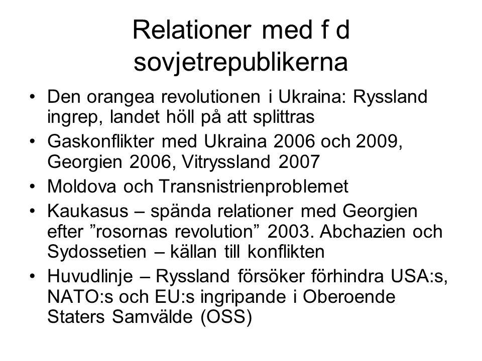 Relationer med f d sovjetrepublikerna