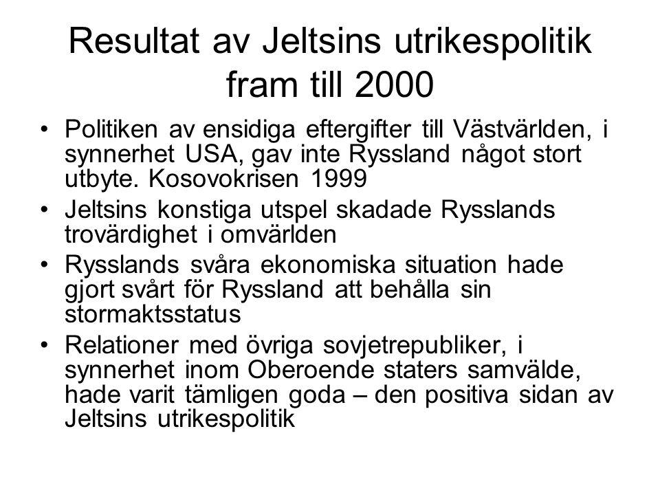 Resultat av Jeltsins utrikespolitik fram till 2000