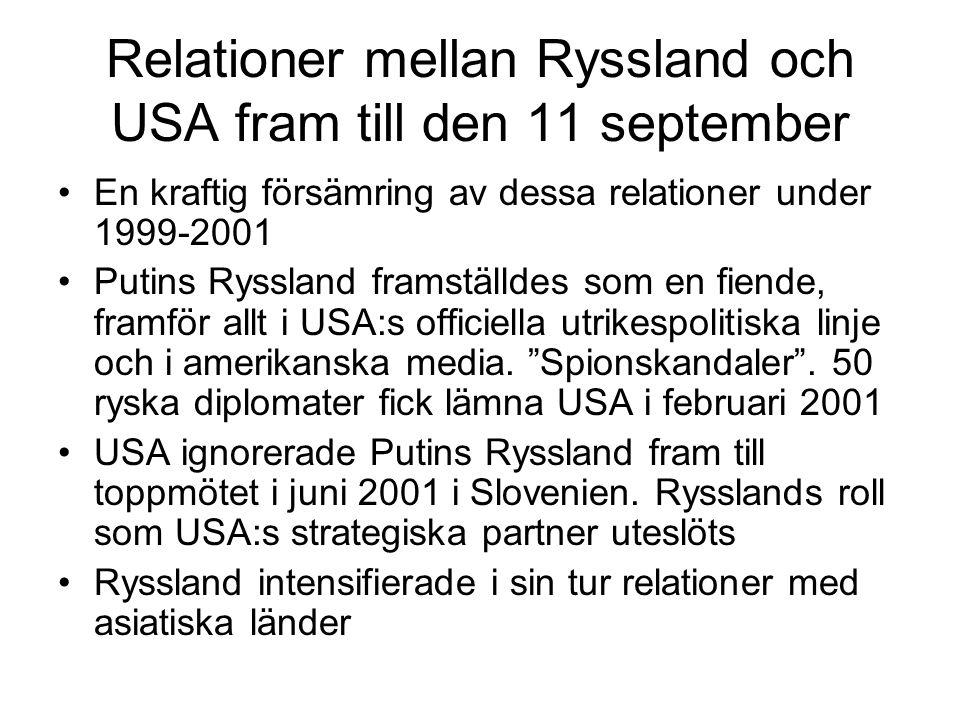 Relationer mellan Ryssland och USA fram till den 11 september