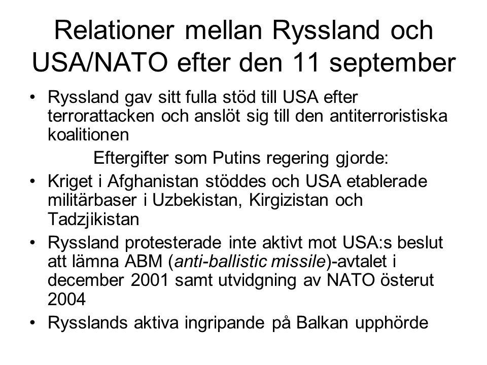 Relationer mellan Ryssland och USA/NATO efter den 11 september