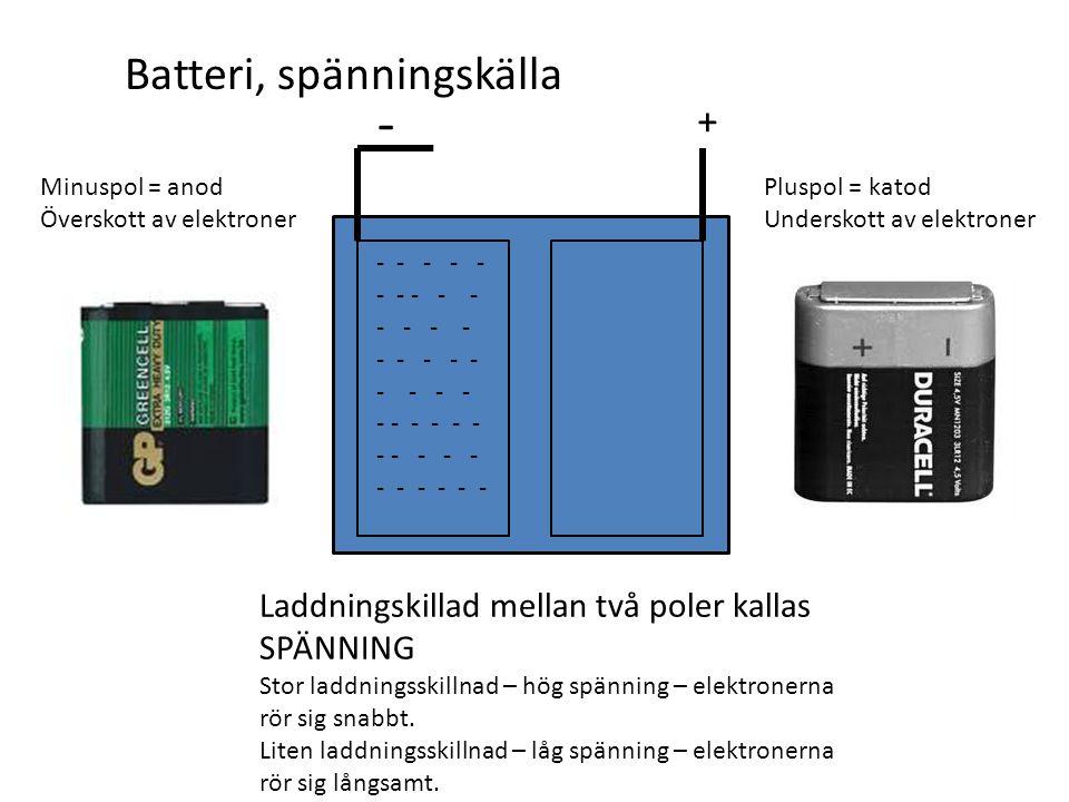 - Batteri, spänningskälla +