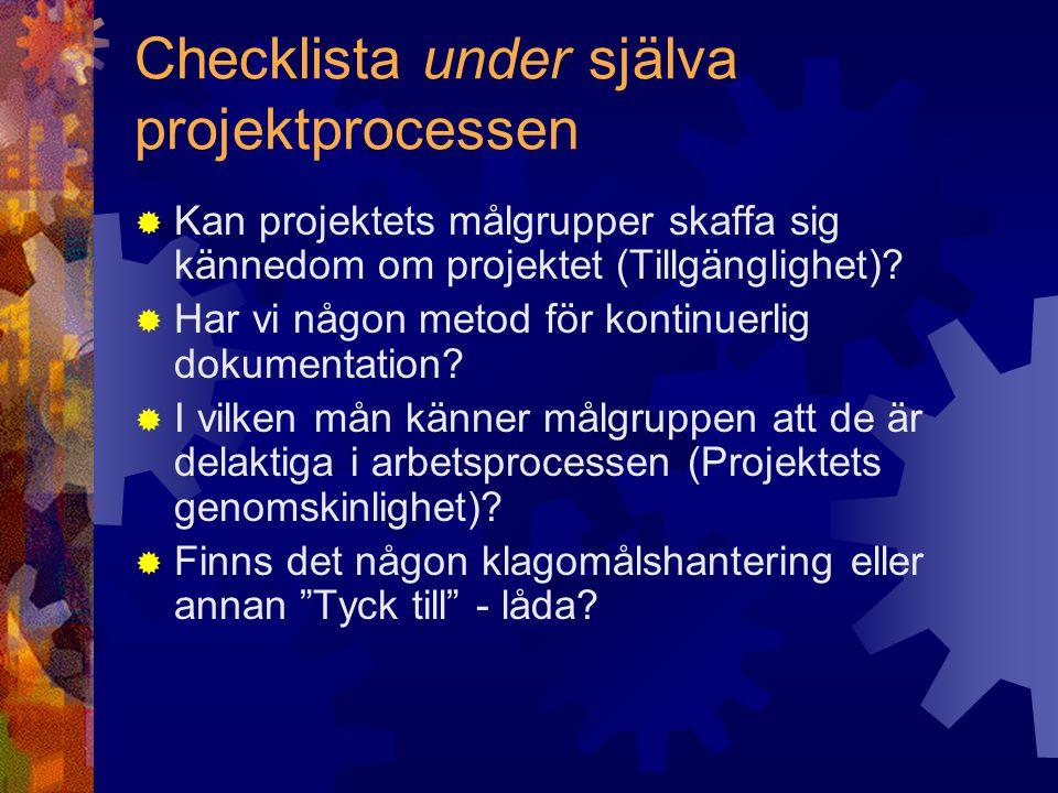Checklista under själva projektprocessen