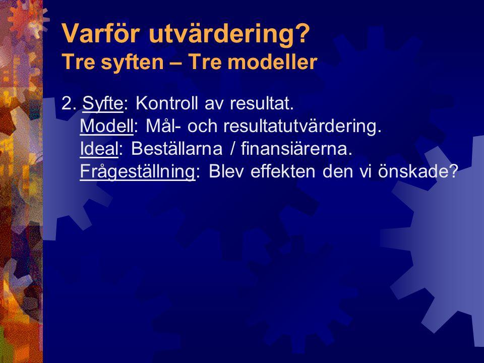 Varför utvärdering Tre syften – Tre modeller