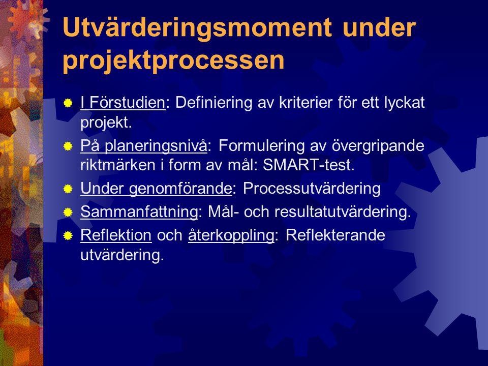 Utvärderingsmoment under projektprocessen