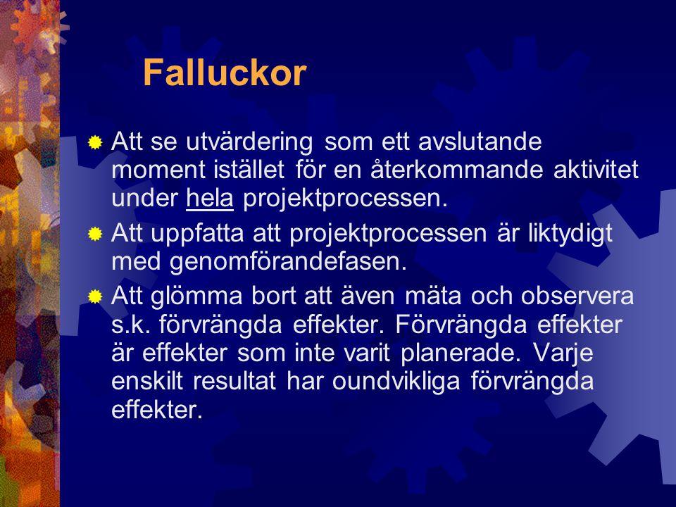 Falluckor Att se utvärdering som ett avslutande moment istället för en återkommande aktivitet under hela projektprocessen.