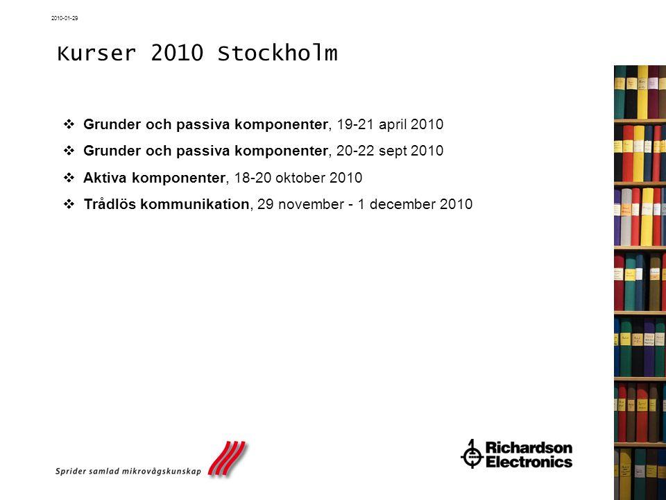 Kurser 2010 Stockholm Grunder och passiva komponenter, 19-21 april 2010. Grunder och passiva komponenter, 20-22 sept 2010.