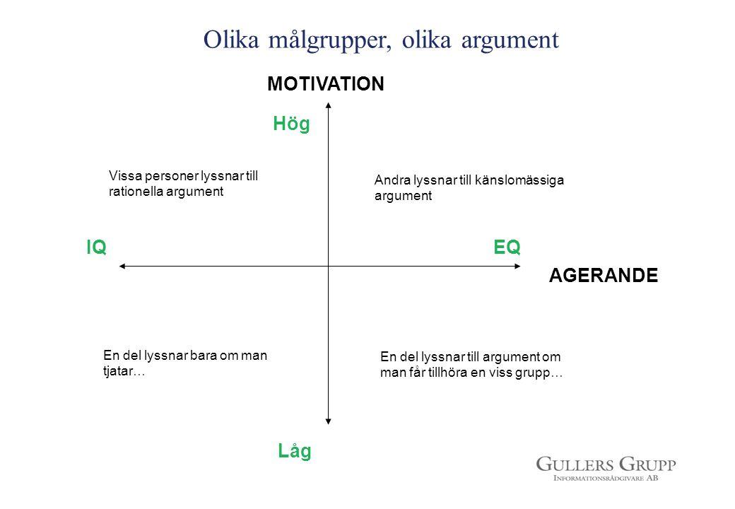 Olika målgrupper, olika argument